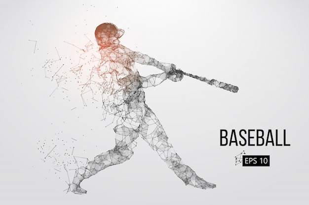Silhouette of a baseball player. vector illustration Premium Vector