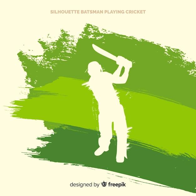 Silhouette batsman playing cricket Free Vector