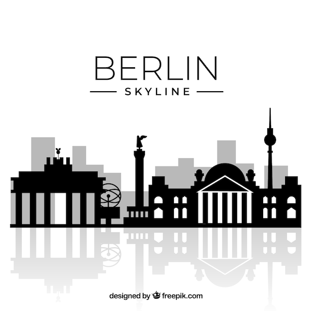 Silhouette berlin skyline background Free Vector