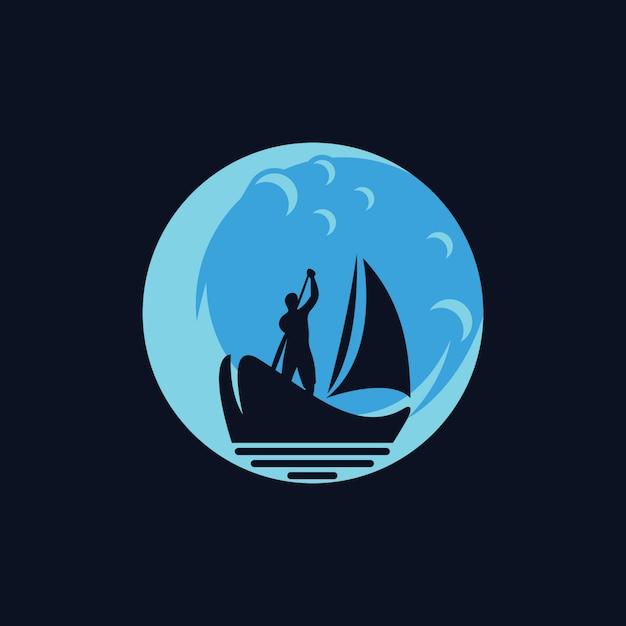Silhouette boat logo design Premium Vector