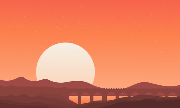 Silhouette of bridge on montain backgrounds Premium Vector