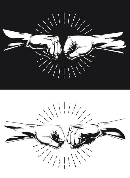 Силуэт братан кулак удар рукопожатие костяшка Premium векторы
