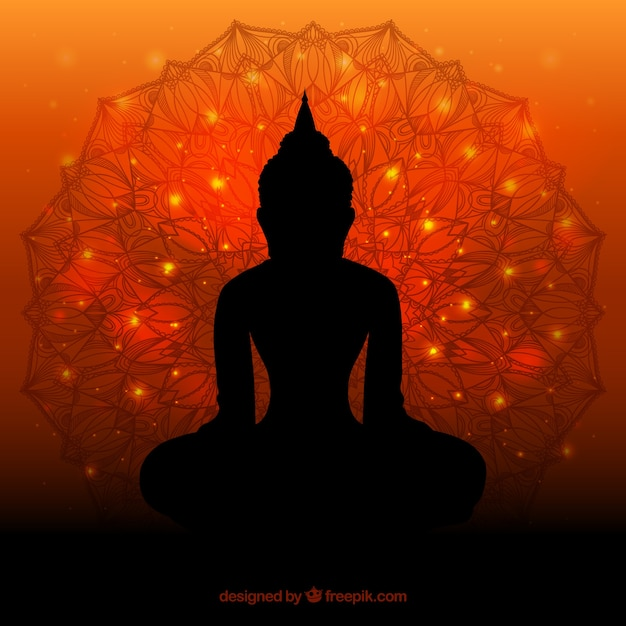 Silhouette of budha with flat design Free Vector