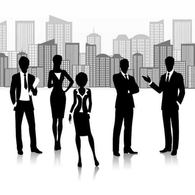 Silhouette business group team people on\ buildings landscape vector illustration