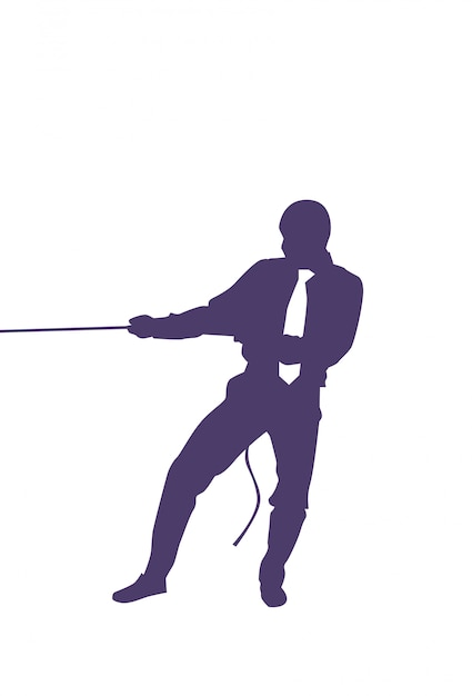 Silhouette business man pulling rope strong businessman competition concept Premium Vector