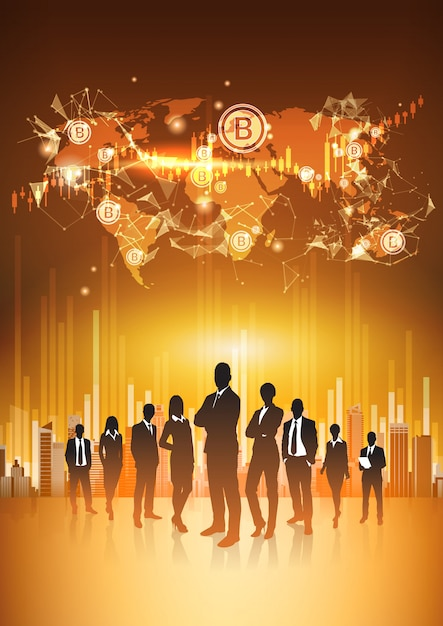 Silhouette business people group standing over world map with bitcoin crypto currency concept digita Premium Vector
