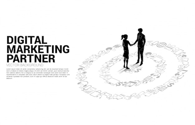 Silhouette of businessman and businesswoman handshake onat center of dartboard from marketing icon . business concept of marketing target and customer Premium Vector