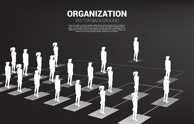 Silhouette of businessman and businesswoman standing on organization chart . Premium Vector