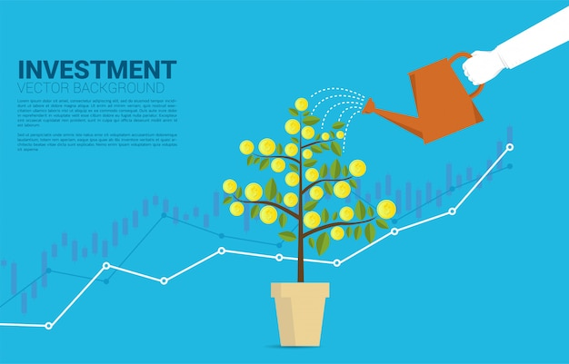 Silhouette businessman hand watering money tree with graph background template Premium Vector