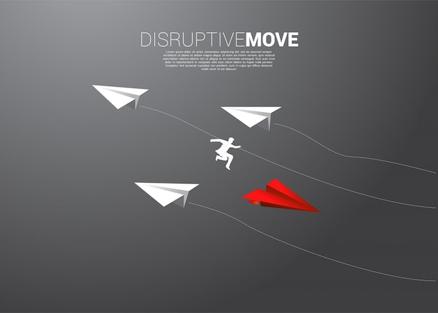 Silhouette of businessman jump from origami paper airplane Premium Vector