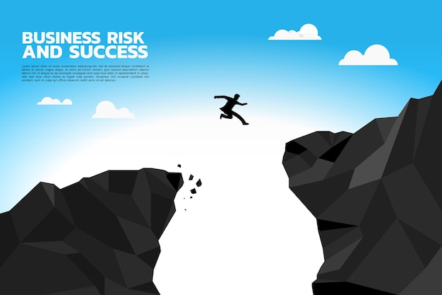 Silhouette of businessman jump to higher cliff. Premium Vector
