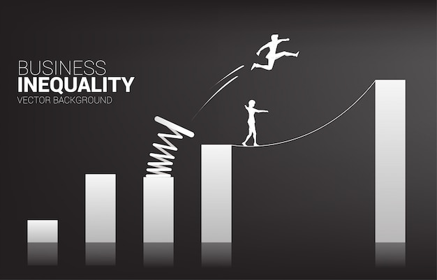Silhouette of businessman jump to higher column of graph with springboard over other on rope walk. concept of boost and growth in business. business inequality. Premium Vector