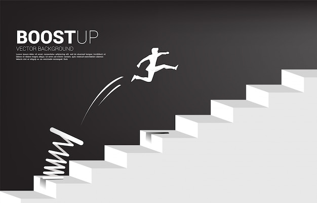 Silhouette of businessman jumping to pass step with springboard,. business concept of targeting and customer.route to success. Premium Vector