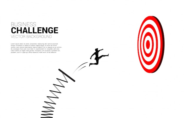Silhouette of businessman jumping to target dartboard. business concept of targeting and customer.route to success. Premium Vector