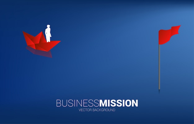Silhouette of businessman on paper ship move to goal. business concept of finding opportunity and goal vision mission. Premium Vector