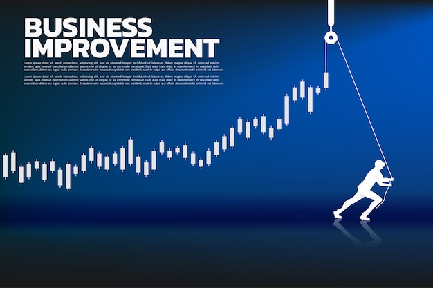 Silhouette of businessman pull up the business graph with rope and reel. Premium Vector