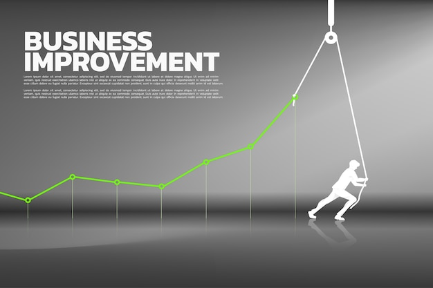 Silhouette of businessman pull up the business graph Premium Vector