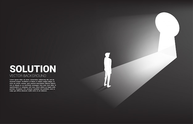 Silhouette of businessman ready to move out to key hole door. find the solution concept vision mission and goal of business Premium Vector