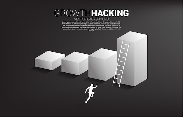 Silhouette of businessman ready to move up on bar graph with ladder. Premium Vector