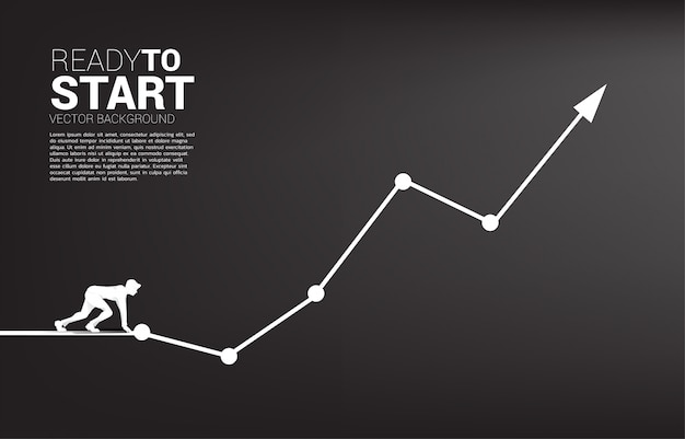 Silhouette of businessman ready to run from start line on growing graph. Premium Vector
