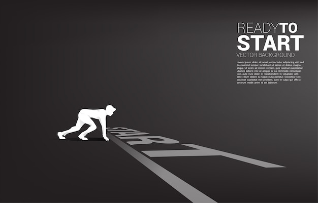 Silhouette of businessman ready to run from start line. Premium Vector