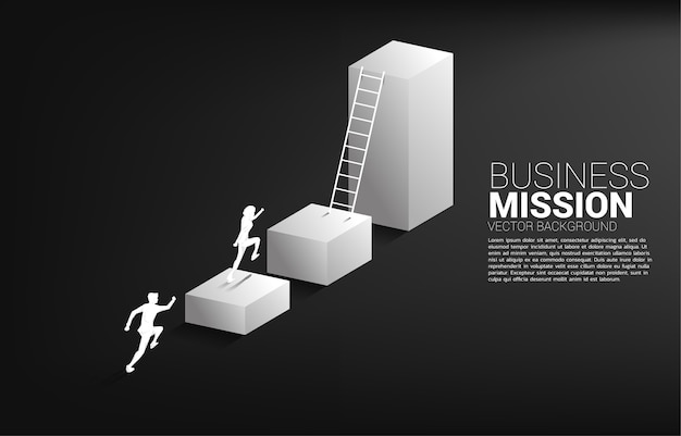 Silhouette of businessman running to move up on bar graph with ladder. Premium Vector
