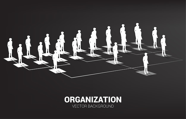 Silhouette of businessman standing on organization chart . business concept of corporate structure and team hierarchy Premium Vector