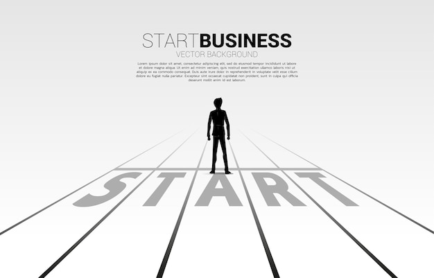 Silhouette of businessman standing at start line. concept of people ready to start career and business Premium Vector