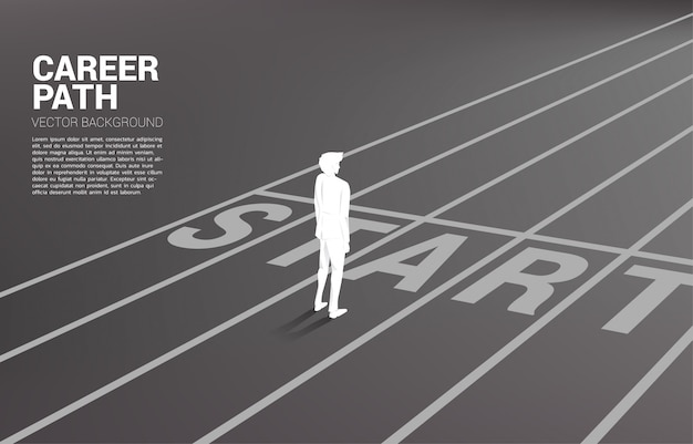 Silhouette of businessman standing at start line Premium Vector