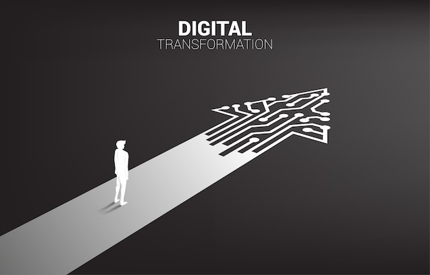 Silhouette of businessman standing on the way with dot connect line circuit. Premium Vector