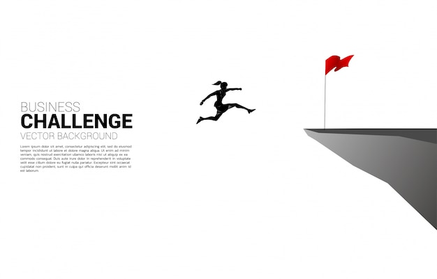 Silhouette of businesswoman jumping to flag on cliff. business concept of targeting and customer.route to success. Premium Vector