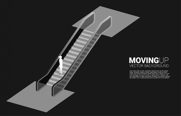 Silhouette of businesswoman moving up by escalator. concept of career path and business growth. Premium Vector