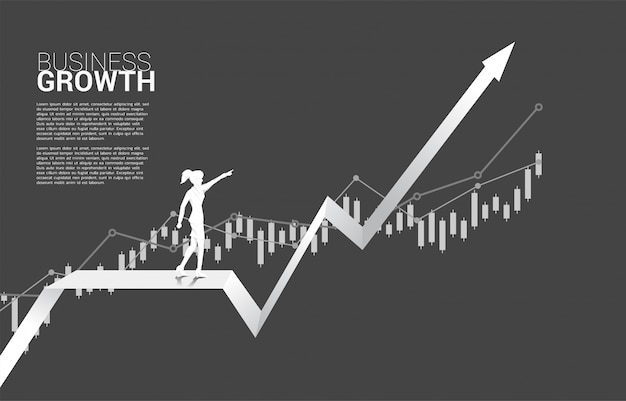 Silhouette of businesswoman point ahead on growing graph. Premium Vector