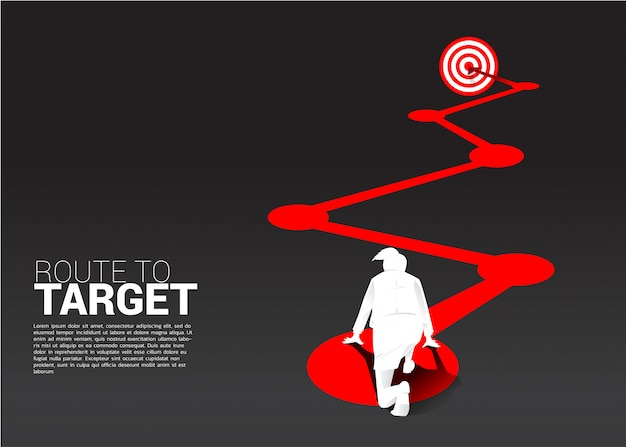 Silhouette of businesswoman ready to run on route to dartboard Premium Vector
