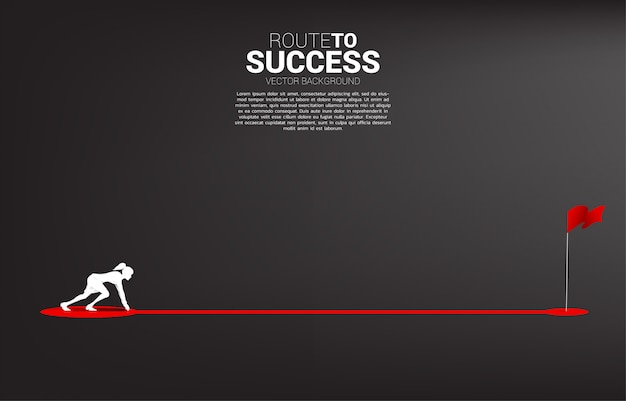 Silhouette of businesswoman ready to run on route path to red flag at goal. concept of people ready to start career and business to success. Premium Vector