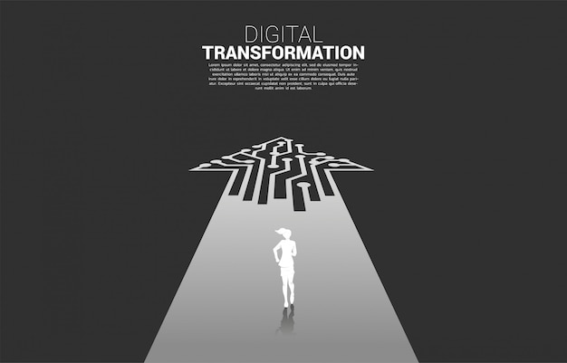 Silhouette of businesswoman running on the way with dot connect line circuit. Premium Vector