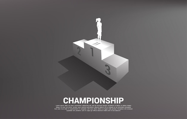 Silhouette of businesswoman standing on first place podium. business concept of winner and success Premium Vector