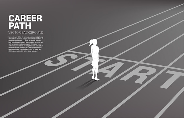 Silhouette of businesswoman standing at start line Premium Vector