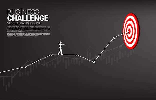 Silhouette of businesswoman walk rope on line graph to center of dartboard. concept of targeting and business challenge.route to success. Premium Vector