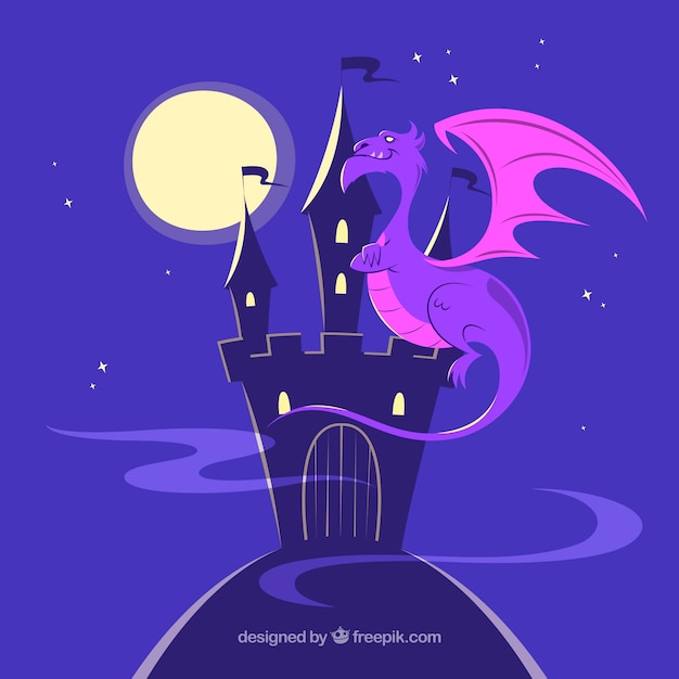 Silhouette castle background with dragon\ flying