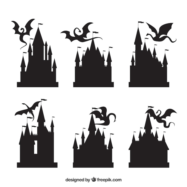 Silhouette of castle and flying dragon collection Free Vector