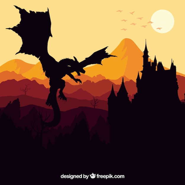 Silhouette of castle and flying dragon Free Vector