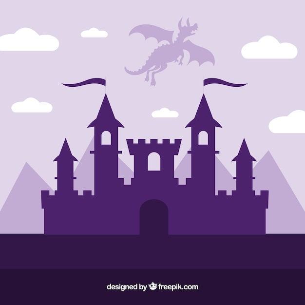 Silhouette of castle and flying dragon Premium Vector