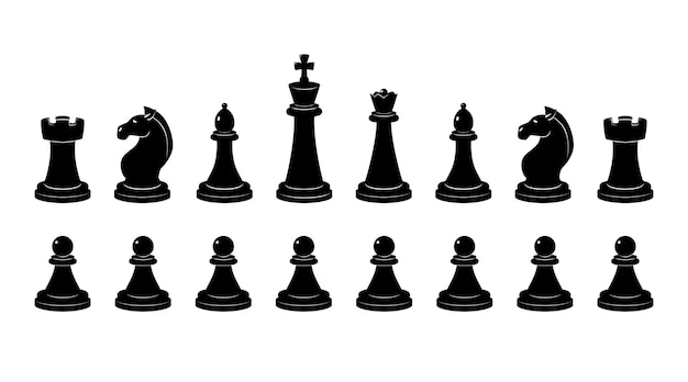 Silhouette of chess.  monochrome illustrations isolate. chessman and chess figure classical profile Premium Vector