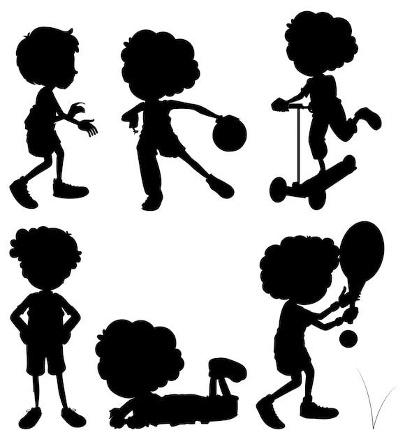 Silhouette Children Doing Different Activities Vector  Free Download