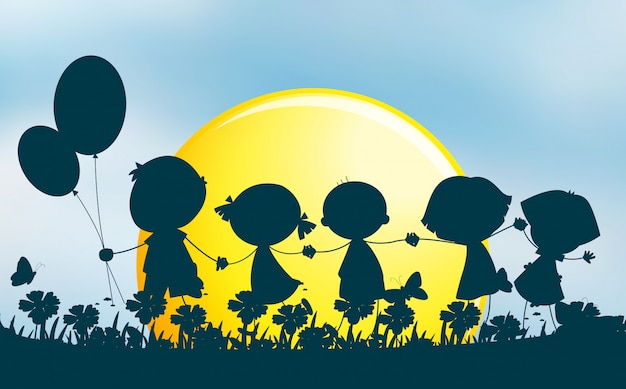 Silhouette children holding hands in park Free Vector
