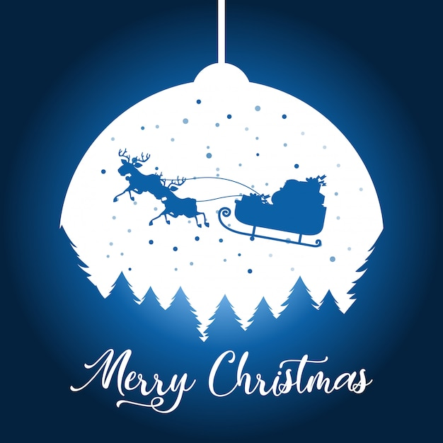 A silhouette christmas background Free Vector