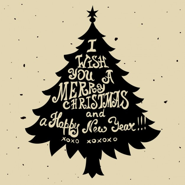 Silhouette of a christmas tree with letters Free Vector