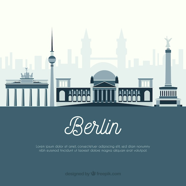 Silhouette city skyline in flat style Free Vector