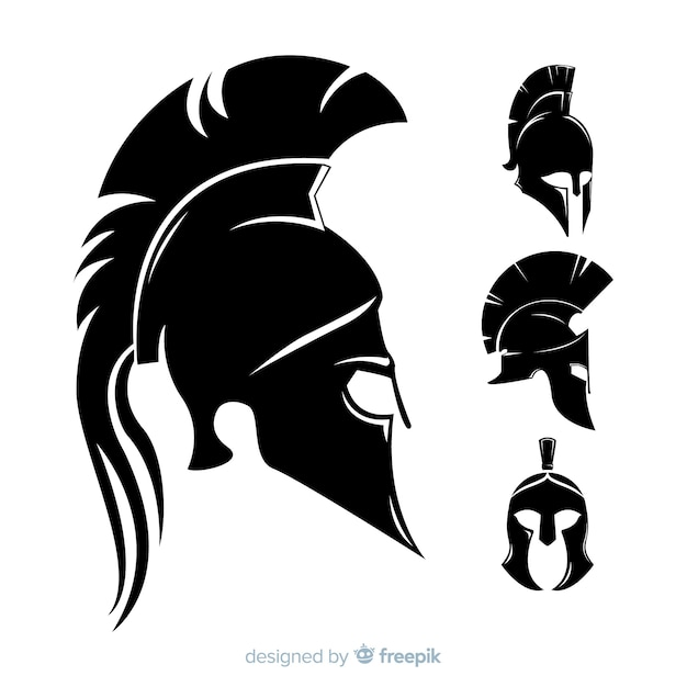 Silhouette collection of spartan helmets Free Vector